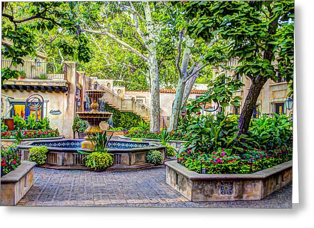 Tlaquepaque Shopping Village -  Sedona  Arizona Greeting Card by Jon Berghoff