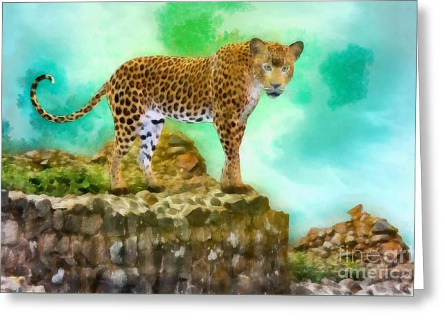 Tleopard Prowl By John Springfield Greeting Card