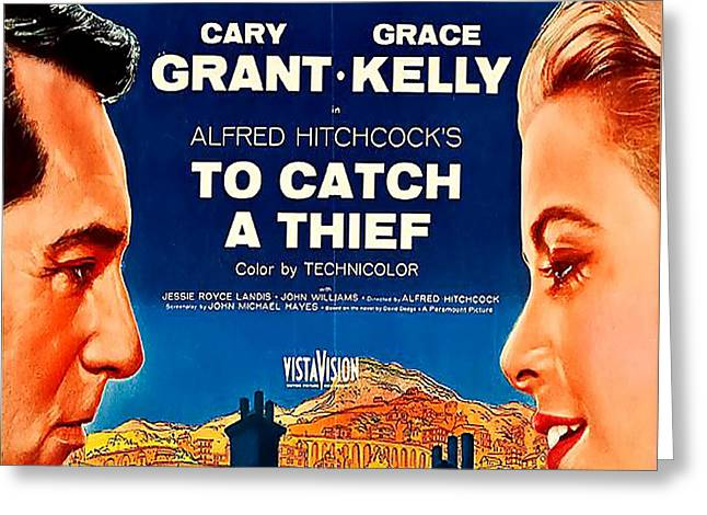 To Catch A Thief Vintage Movie Poster Greeting Card by Spencer McKain