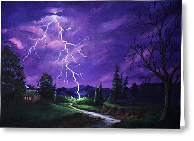Lightning Strike Paintings Greeting Cards - To Close Greeting Card by Marlene Kinser Bell