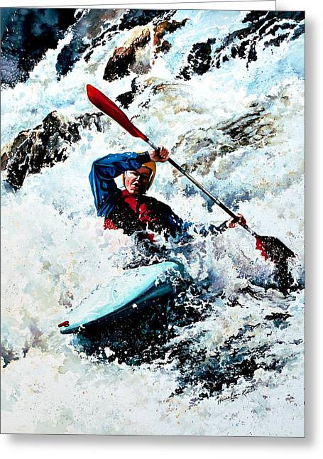To Conquer White Water Greeting Card by Hanne Lore Koehler