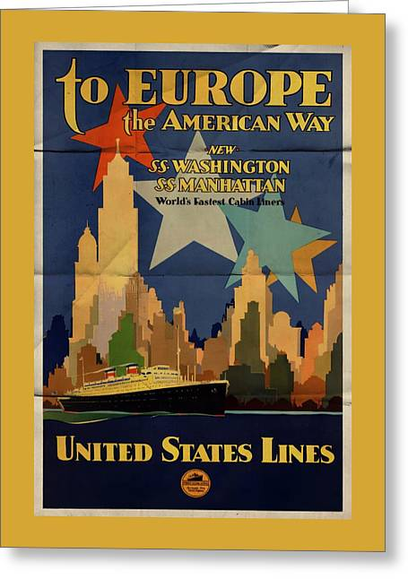 To Europe The American Way - Folded Greeting Card
