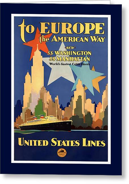 To Europe The American Way - Restored Greeting Card