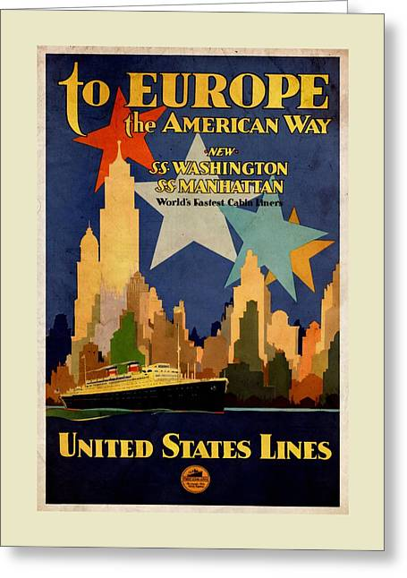 To Europe The American Way - Vintagelized Greeting Card