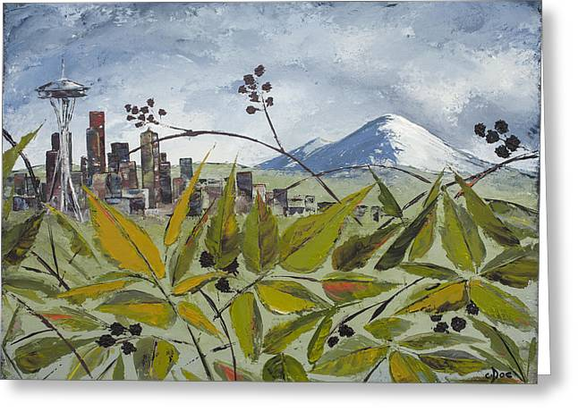 To Get To The City You Must Go Thru The Blackberries Greeting Card by Carolyn Doe