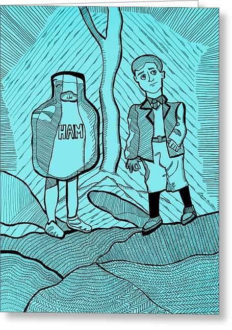 To Kill A Mockingbird Illustration In Aqua Greeting Card