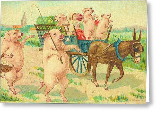 To Market To Market To Buy A Fat Pig 86 - Painting Greeting Card
