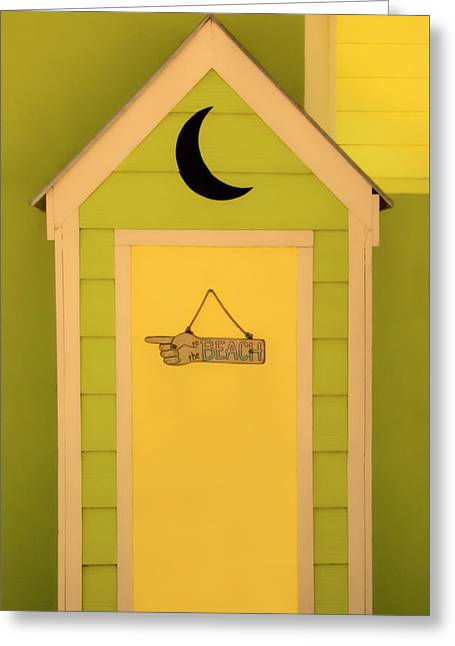 To The Beach - Decorative Outhouse And Sign Greeting Card by Mitch Spence