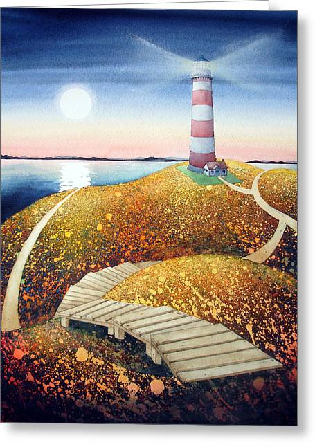 To The Lighthouse Greeting Card by Arlene Kline