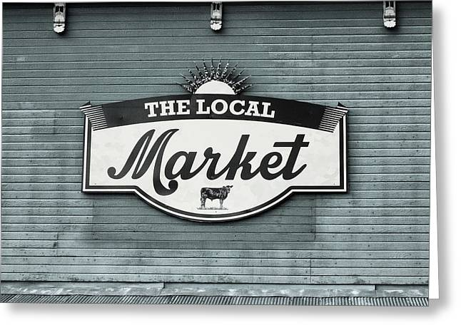 To The Market -in Blue Greeting Card