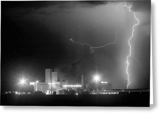 To The Right Budweiser Lightning Strike Bw Greeting Card