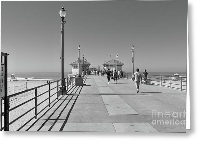 Greeting Card featuring the photograph To The Sea On Huntington Beach Pier by Ana V Ramirez