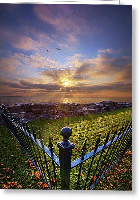 To The Shore And Horizon's Bounty Greeting Card by Phil Koch