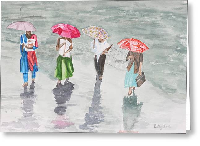 To Work In The Rain Greeting Card