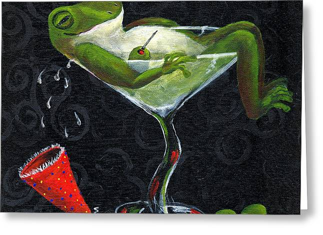Toadally Under The Influence Greeting Card by Debbie McCulley