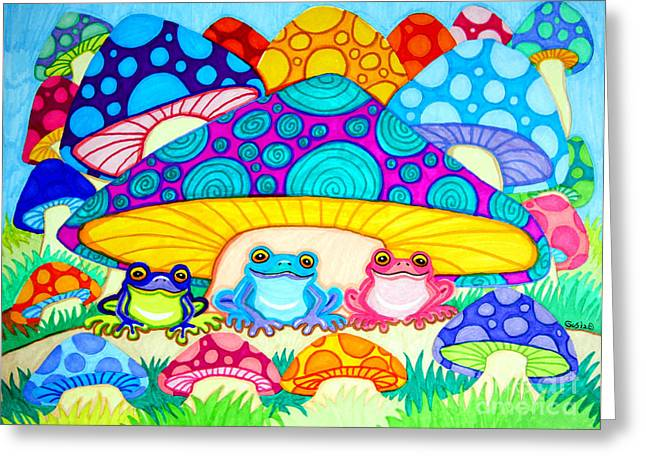 Toads And Toad Stools Greeting Card by Nick Gustafson