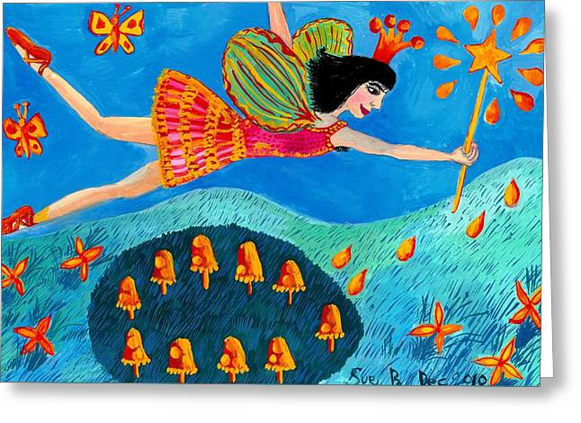 Toadstool Fairy Flies Again Greeting Card by Sushila Burgess