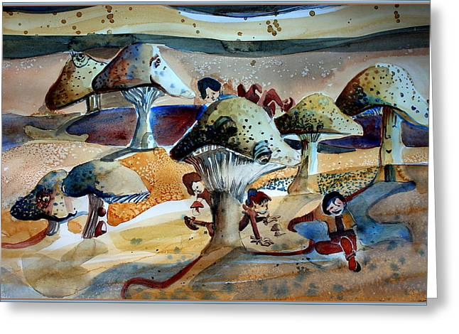 Toadstool Village Greeting Card by Mindy Newman