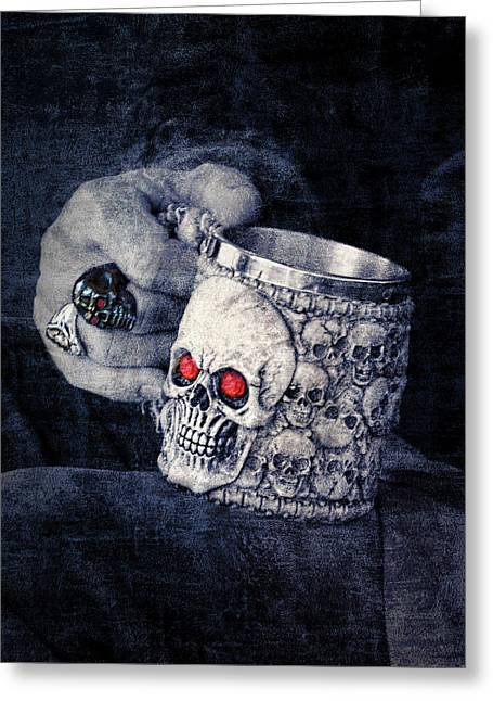 Toasting Halloween - Skull Cup With Red Eyes Greeting Card by Mitch Spence
