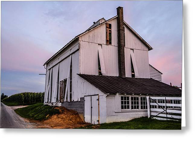 Tobacco Barn At Dusk Greeting Card