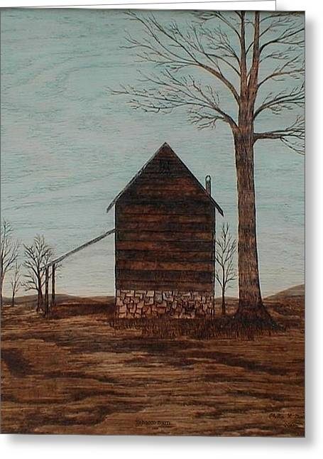 Folk Pyrography Greeting Cards - Tobacco Barn Greeting Card by Phillip H George