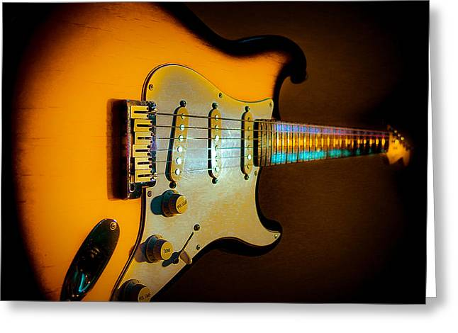 Tobacco Burst Stratocaster Glow Neck Series Greeting Card