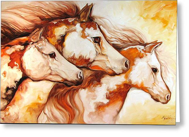 Tobiano Horse Trio Greeting Card by Marcia Baldwin