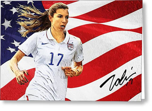 Tobin Heath Greeting Card by Taylan Apukovska