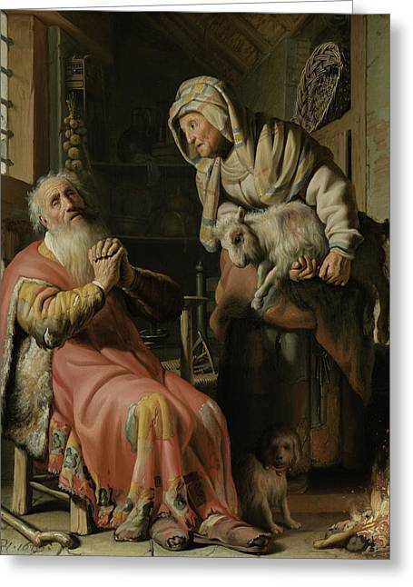 Tobit And Anna With The Kid Greeting Card by Rembrandt
