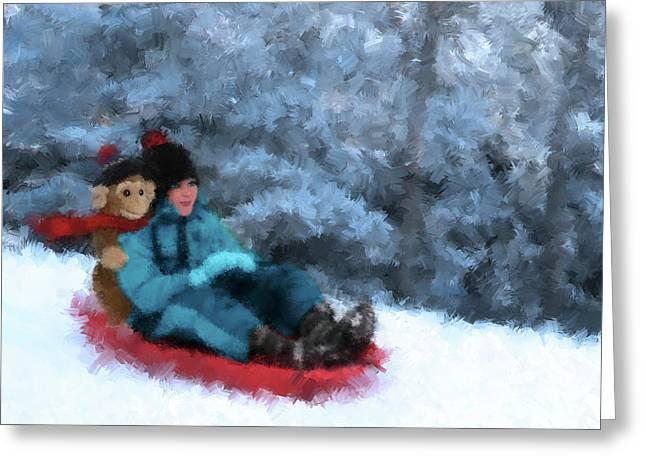 Toboggan Ride - Impressionist Winter Snow Scene Greeting Card by Rayanda Arts