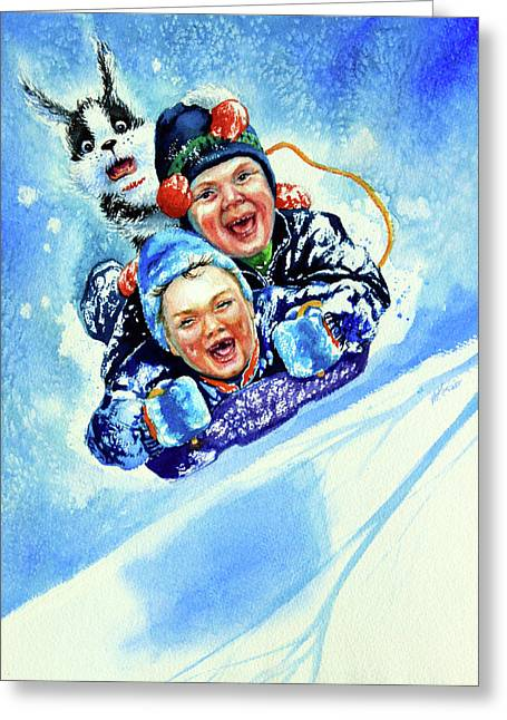 Winter Sports Art Prints Greeting Cards - Toboggan Terrors Greeting Card by Hanne Lore Koehler