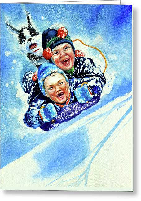 Toboggan Terrors Greeting Card by Hanne Lore Koehler