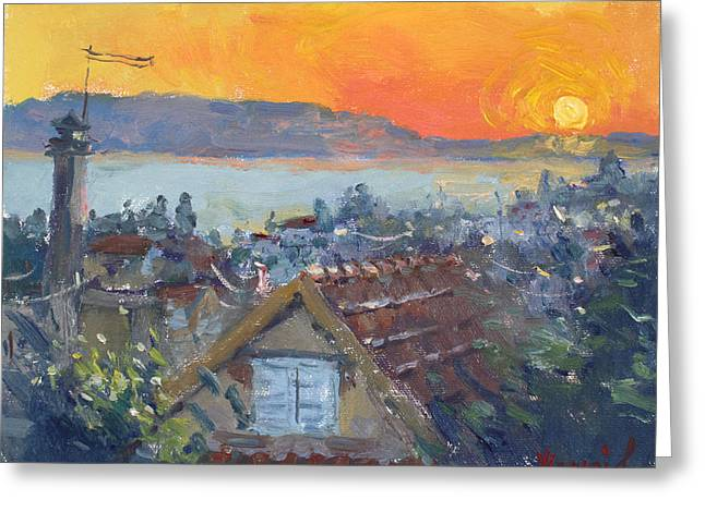 Today Sunrise Over Dilesi Greece Greeting Card