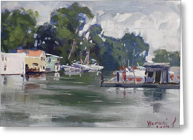 Today's Plein Air Workshop Demonstration At Wardell Boat Yard Greeting Card