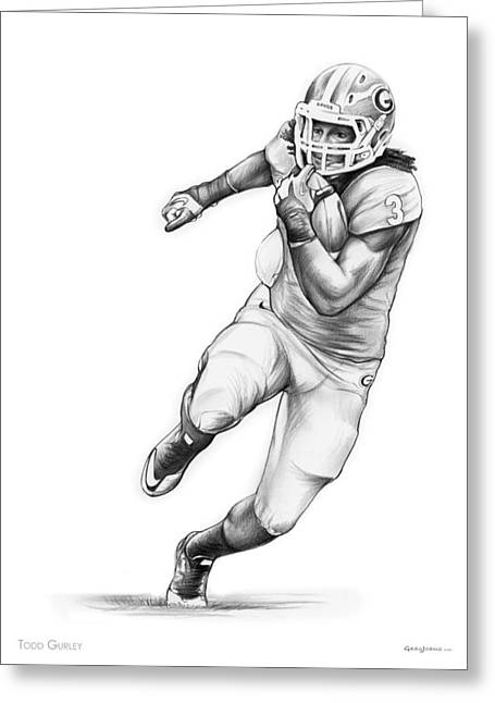 Todd Gurley Greeting Card by Greg Joens