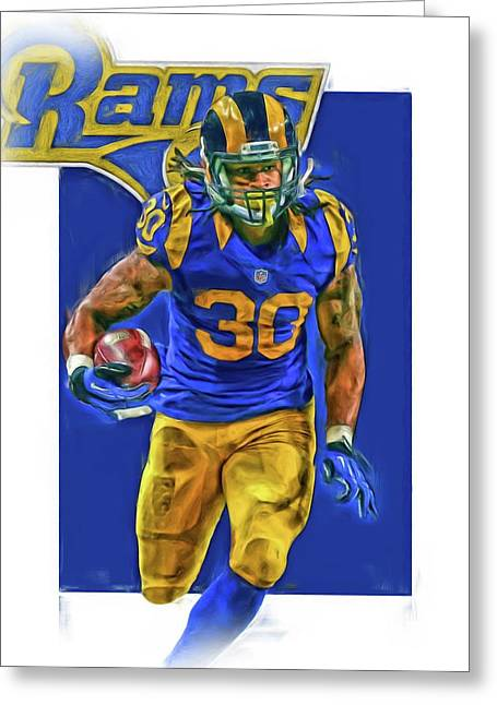 Todd Gurley Los Angeles Rams Oil Art 2 Greeting Card by Joe Hamilton