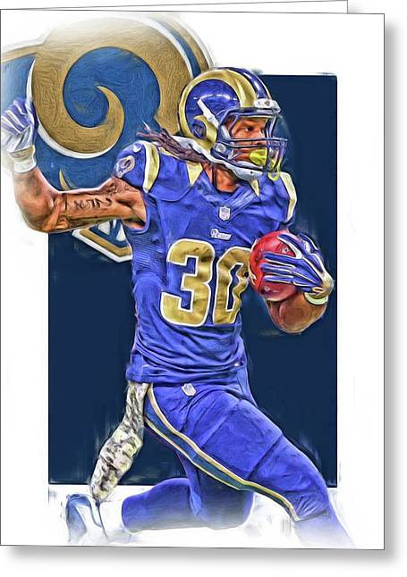 Todd Gurley Los Angeles Rams Oil Art 3 Greeting Card