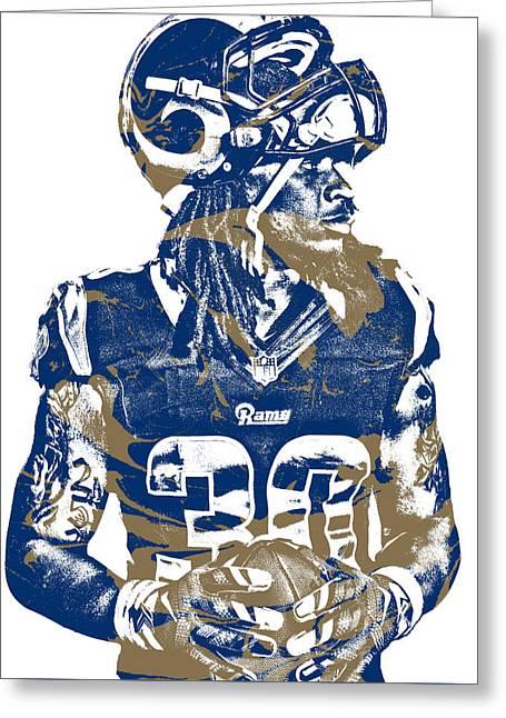 Todd Gurley Los Angeles Rams Pixel Art 26 Greeting Card