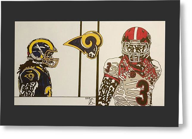 Todd Gurley Reflections  Greeting Card by Jeremiah Colley