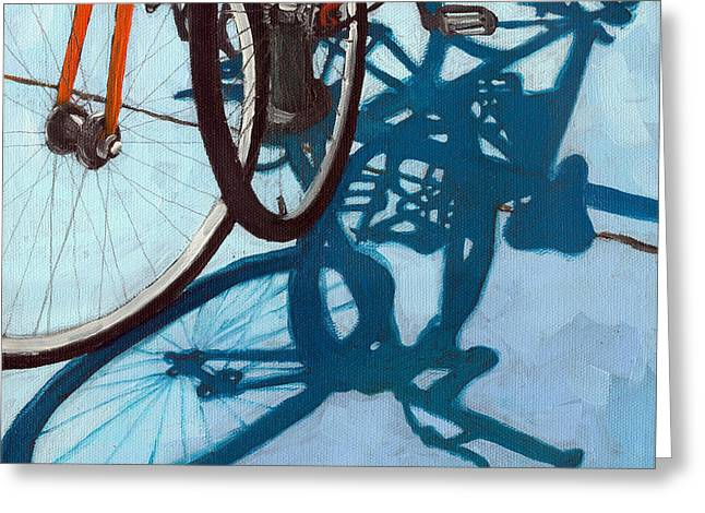 Two Bikes Greeting Cards - Together - city bikes Greeting Card by Linda Apple