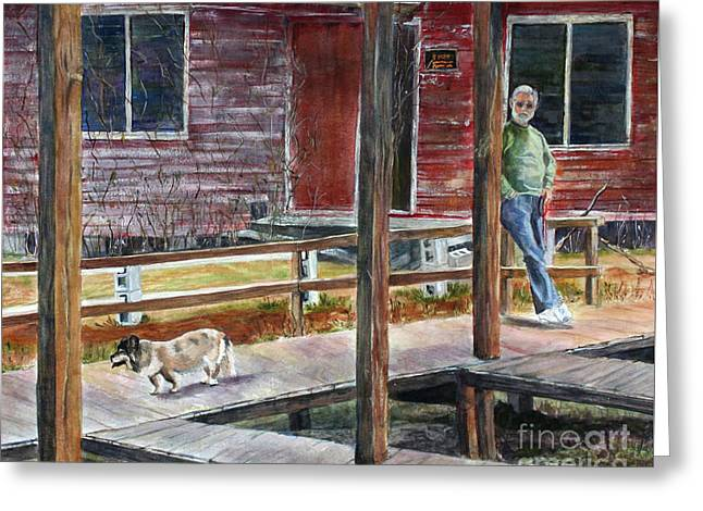 Together Again At The Old Fish Camp Greeting Card by Janet Felts