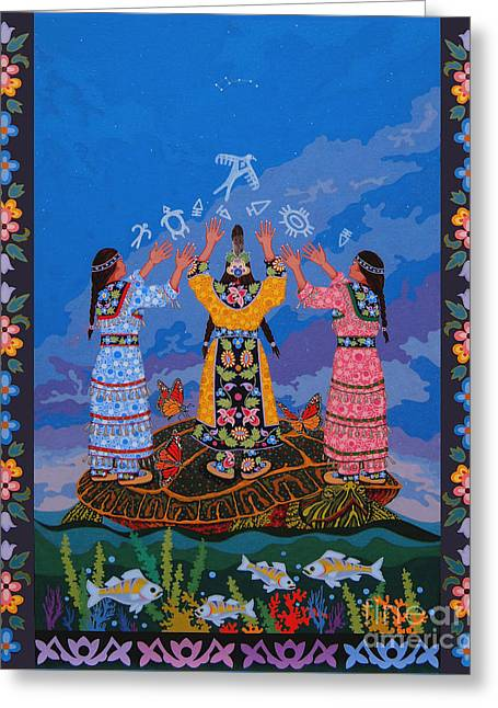 Greeting Card featuring the painting Together We Over Come Obstacles by Chholing Taha