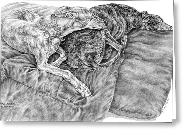 Hound Drawings Greeting Cards - Togetherness - Greyhound Dog Art Print Greeting Card by Kelli Swan