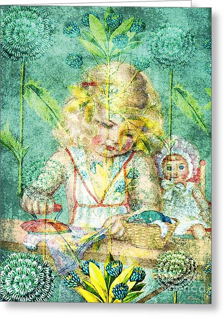Toiling For Hours In Her Forest Of Flowers Greeting Card by Tammera Malicki-Wong