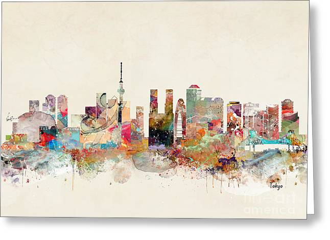 Greeting Card featuring the painting Tokyo City Skyline by Bri B