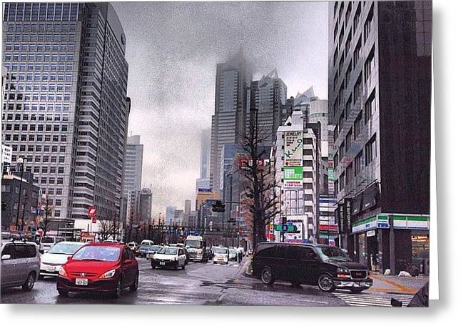 Tokyo Cloudy Greeting Card by Moto Moto