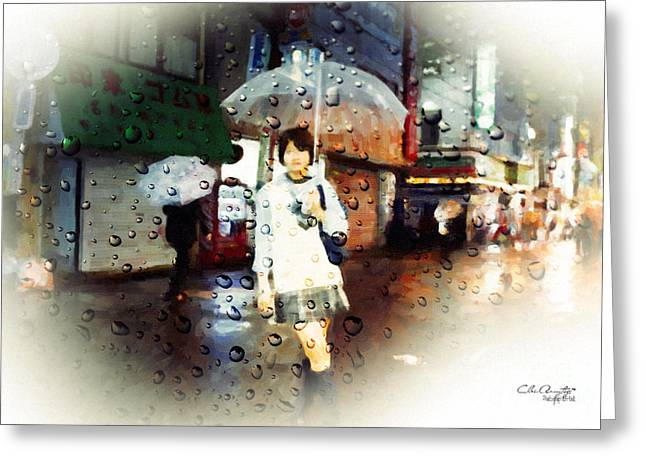 Greeting Card featuring the painting Rainytokyo Night by Chris Armytage