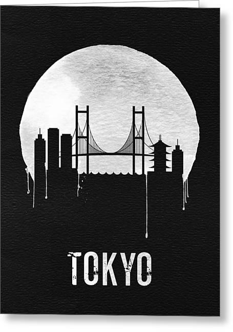 Tokyo Skyline Black Greeting Card