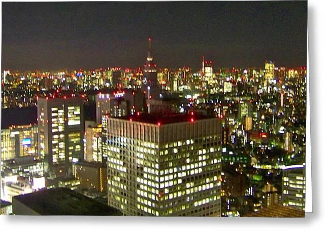 Tokyo Skyline Greeting Card by Britta Loucas