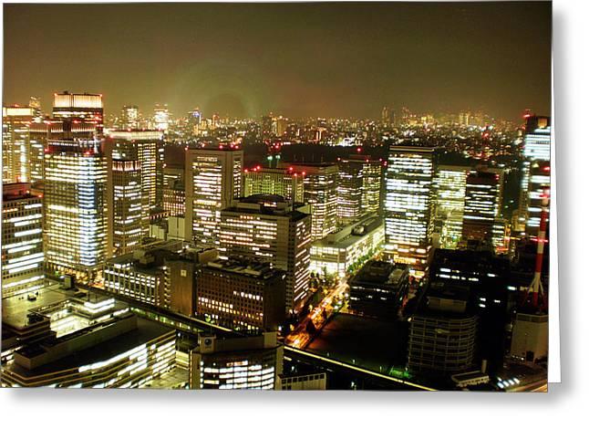 Tokyo Skyline Greeting Card by Nancy Ingersoll